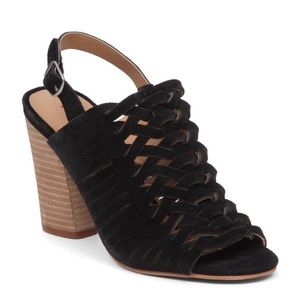 Lucky Brand Yvette Heels 9.5 Caged Suede Black
